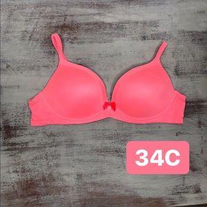 Victoria's Secret Neon Pink No Wire Lined Bra 34C